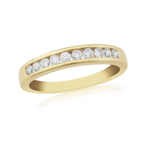 Yellow Gold Diamond Eternity Ring Channel Set 33 Points